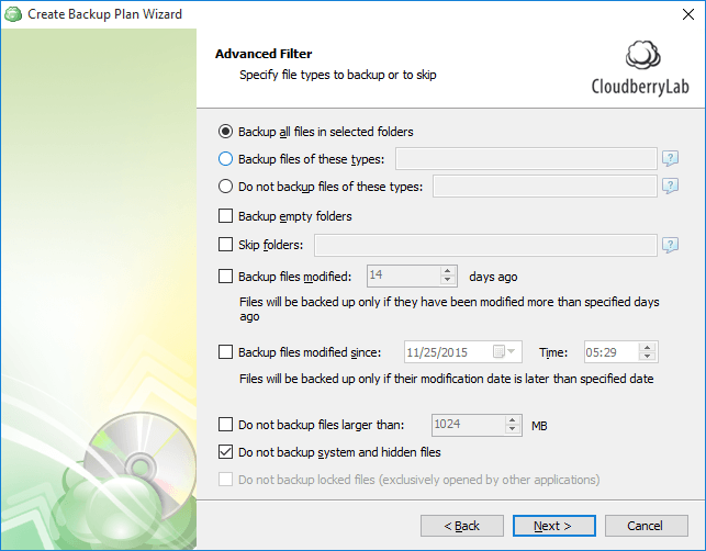 Specify file types to backup or to skip