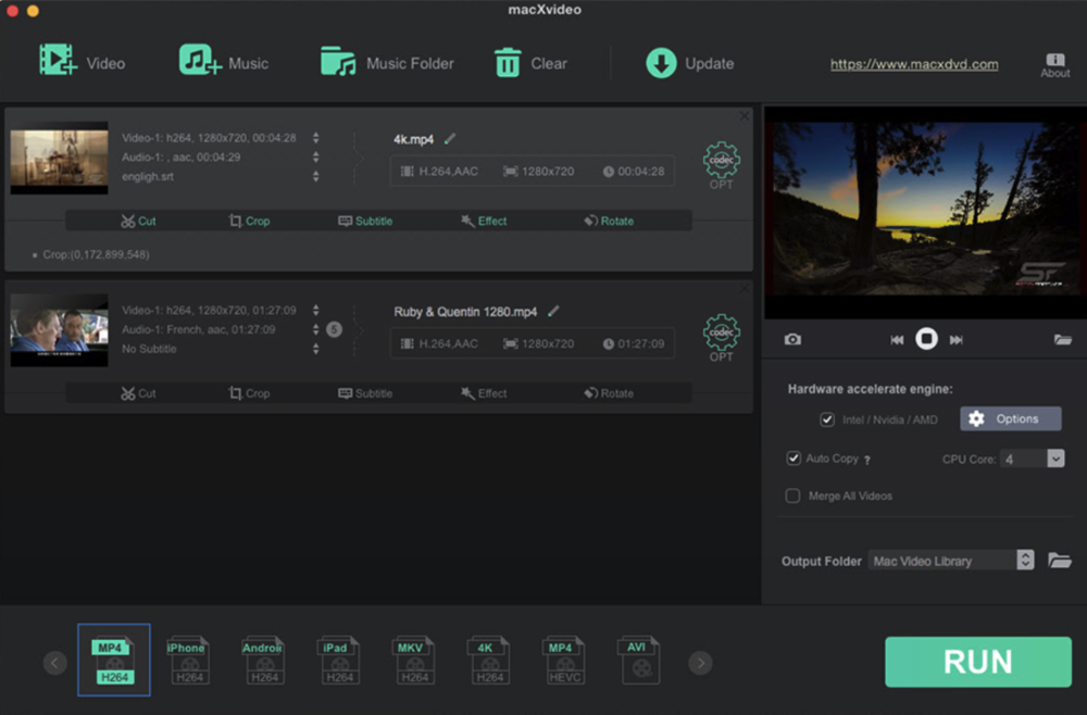 macXvideo's intuitive user interface will get you up to speed editing, processing and sharing your video in no time