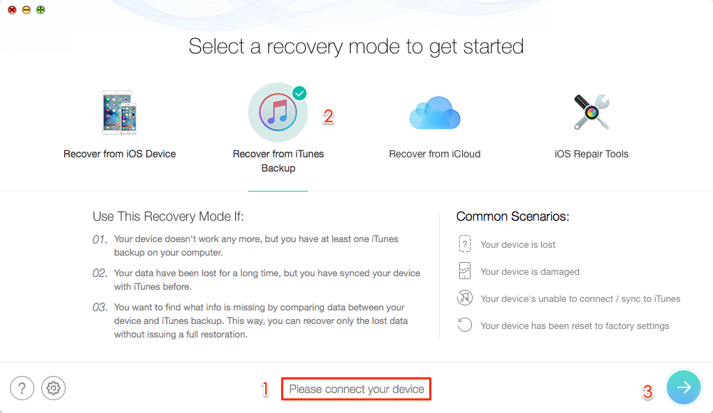 Recover Deleted Photos on iPhone with iTunes Backup – Step 2