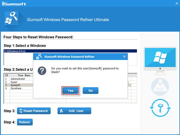 click on the Yes to set Windows password to blank