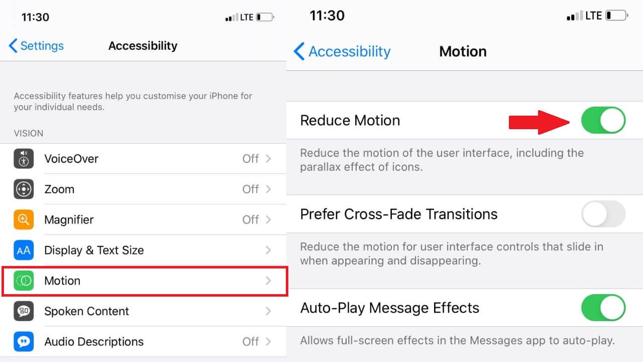Reduce Motion on iPhone
