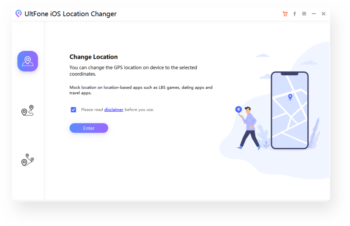 select a mode on ios location changer